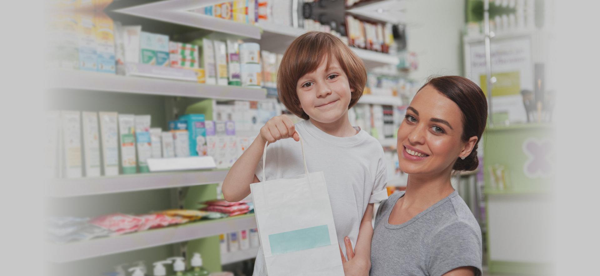 little boy in pharmacy